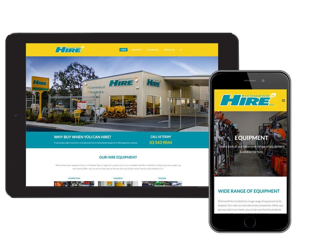 web design nelson - Richmond Hire website