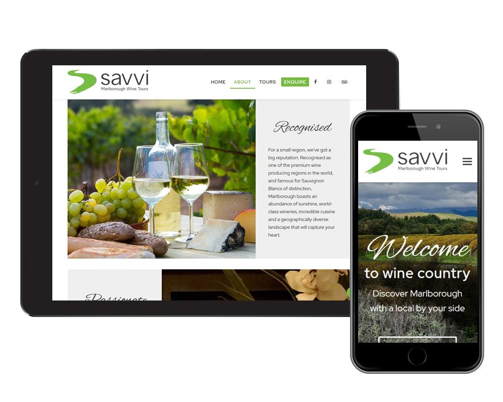 Image of Savvi Wine Tours website designed by Slightly Different Ltd