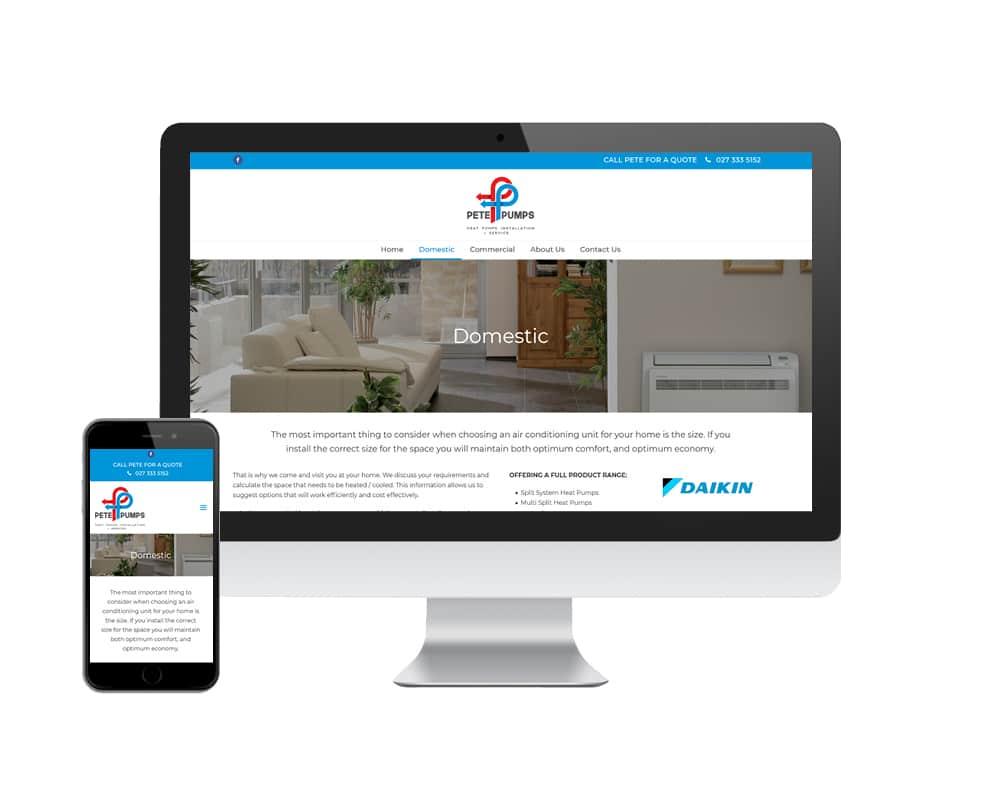 Pete Pumps website designed by Slightly Different Ltd