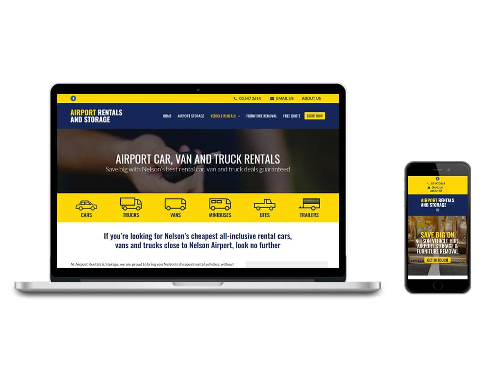 Image of Nelson Storage and Rentals website shown on a computer and a cell phone