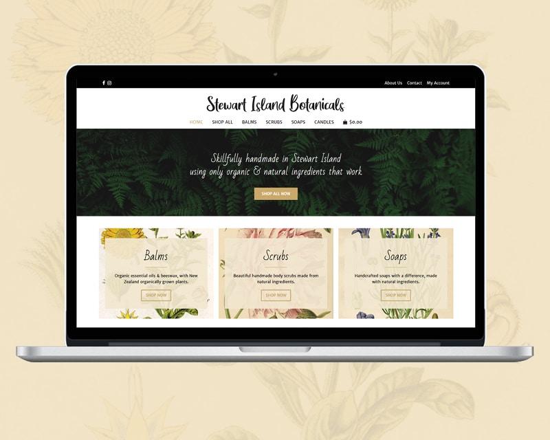 Image of Stewart Island Botanicals website designed by Slightly Different Ltd